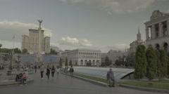 "Kiev (Kyiv) . Ukraine. The Independence Square. ""Maidan"". General view Stock Footage"