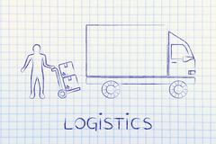 delivery company vehicle & man with parcels, logistics - stock illustration