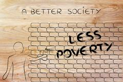 Man writing Less Poverty as wall graffiti, a better society Stock Illustration