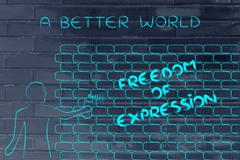 man writing Freedom of Expression as wall graffiti, caption A better world - stock illustration