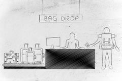 traveler at airport check-in desk, bag drop - stock illustration