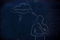 brainstorming man with lightning bolt out of thought bubble - stock illustration