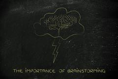 Stormy cloud with brain and bolt, the importance of brainstorming Stock Illustration