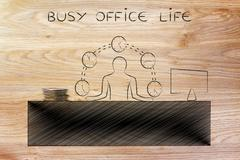 Business man juggling time (clocks) at the office, busy office life Stock Illustration