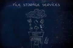 Folders & documents transfers to an electronic cloud, file storage services Stock Illustration
