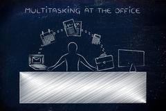 business man juggling tasks at the office, multitasking at the office - stock illustration