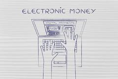 Atm inside laptop screen with hand inserting card, electronic money Stock Illustration