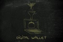 coins dropped into laptop's virtual purse, caption digital wallet - stock illustration