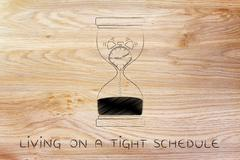 Hourglass with melting alarm clock, living on a tight schedule Stock Illustration