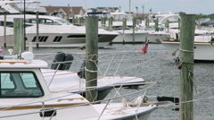 Boats at the dock during they day in Long Island New York Stock Footage