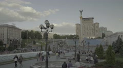 City view of Kiev: independence Square in the Summer. The General plan Stock Footage