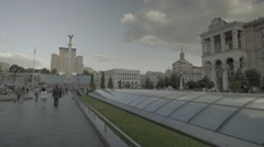 The center of Kiev (Kyiv). The independence square. Urban architecture. Stock Footage