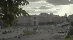 City views of Kiev. The independence square. Ukraine. General plan. Day Stock Footage