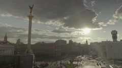 Kiev, (Kyiv) Ukraine, Independence Square at sunset. - stock footage