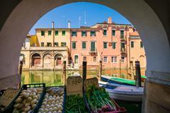 Chioggia glimpse from the arcades. - stock photo
