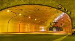 Warsaw Timelapse Tunel under the Old Town, Solidarności Avenue, Warszawa Stock Footage