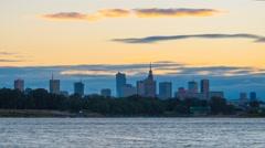 Warsaw Cityscape Panorama Timelapse with Vistula River, Warszawa Stock Footage