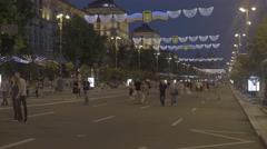 Khreshchatyk street in Kiev (Kyiv) at night . The center of the city. Stock Footage