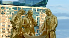 Birmingham, England. Golden Boys statue with Cube MS UHD Stock Footage