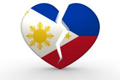 Broken white heart shape with Philippines flag Stock Illustration