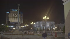 Kiev (Kyiv) Ukraine. Downtown at night. The Independence Square Stock Footage