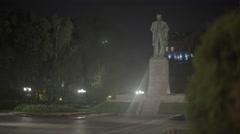 Landscapes of Kiev (Kyiv) at night, Ukraine. The Monument To Taras Shevchenko Stock Footage