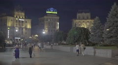The people on Independence Square at night. Kiev (Kyiv) . Ukraine Stock Footage