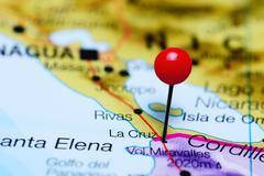 La Cruz pinned on a map of Costa Rica - stock photo