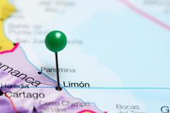 Limon pinned on a map of Costa Rica Stock Photos