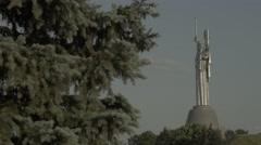 Kiev. Ukraine, the symbol of the city: the Monument of Motherland Stock Footage