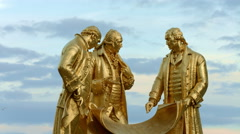 Birmingham, England. Golden Boys statue against mixed sky Stock Footage