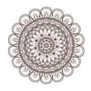Round petali like decorative line mandala icon Stock Illustration