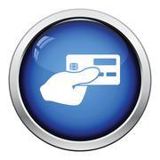 Hand holding credit card icon Stock Illustration
