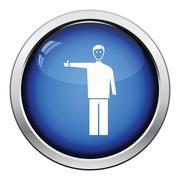 Catching taxi icon - stock illustration