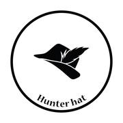 Hunter hat with feather  icon - stock illustration