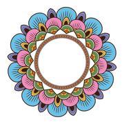 circular multicolored decorative line mandala icon - stock illustration