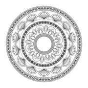 Round decorative line mandala icon Stock Illustration