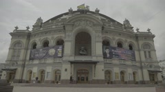 The symbol of Kiev, Ukraine. The building of the National Opera of Ukraine Stock Footage