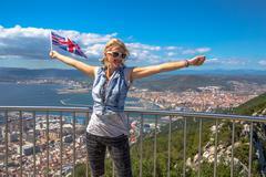 Woman enjoy at Gibraltar - stock photo
