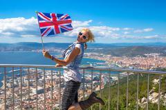 Gibraltar British flag - stock photo