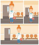 Doctor with first aid box Stock Illustration