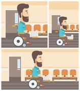 Man with broken leg sitting in wheelchair Stock Illustration