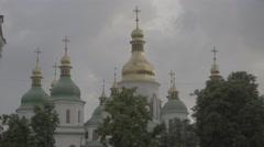 Domes of St. Sophia's Church in Kiev (Kyiv) Stock Footage