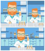 Laboratory assistant working Stock Illustration