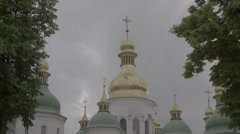 Architecture Of Kiev. Saint Sophia. A Symbol Of Ukraine. Dome Stock Footage