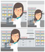 Laboratory assistant with microscope Stock Illustration