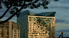 Birmingham, England. The Cube building with tree Stock Footage