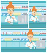 Pharmacist writing prescription Stock Illustration