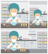 Pharmacist preparing medication Stock Illustration
