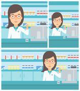 Pharmacist showing some medicine Stock Illustration